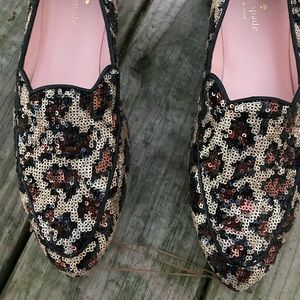 Kate Spade ♠️Caty sequin leopard loafers flats